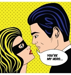 Man and woman in black superhero mask love couple vector image vector image