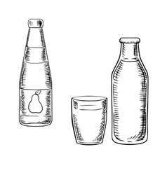 Milk and pear juice drinks sketches vector image vector image