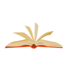 red covered opened book with pages fluttering vector image vector image