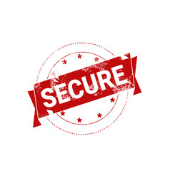 secure stamp red grunge sign sticker icon isolated vector image vector image