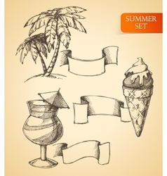 Summer sketch set vector image vector image