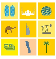 UAE landmark icons set Camels and oil pumps Palm vector image vector image
