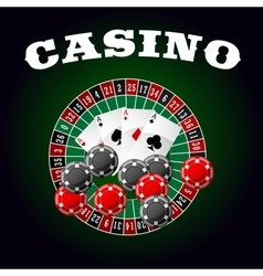 Casino icon with four aces chips and roulette vector image vector image
