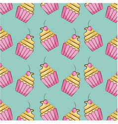 cupcake dessert sweet seamless pattern vector image