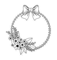 Monochrome contour with circular frame with floral vector