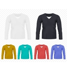 Realistic Men T-shirt with long sleeves set vector image vector image