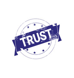 trust guarantee stamp blue ink sign or badge icon vector image vector image