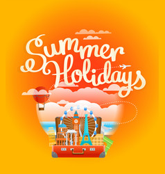 Vacation travelling composition summer holidays vector