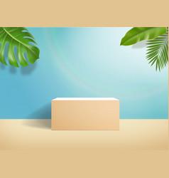 3d podium on minimal blue pastel wall scene vector image
