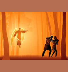 adam and eve expelled from the garden vector image