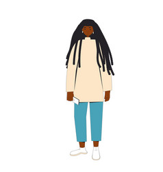 African american woman female character wearing vector