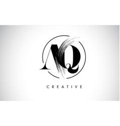 Aq brush stroke letter logo design black paint vector