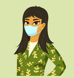 Asian woman wearing surgical mask vector
