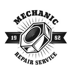 Auto repair service emblem with screw nut vector