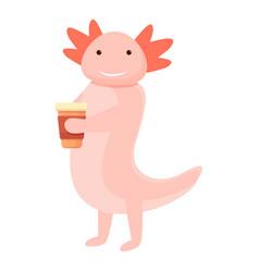 Axolotl coffee cup icon cartoon style vector