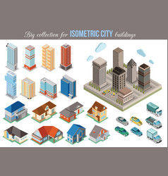 Big collection for isometric city buildings Set vector image