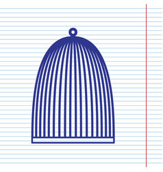 bird cage sign navy line icon on notebook vector image