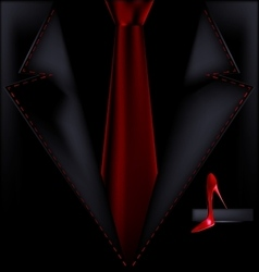 Black suit and red shoe vector