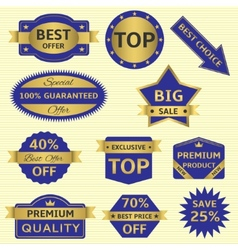 Blue labels with golden frames vector