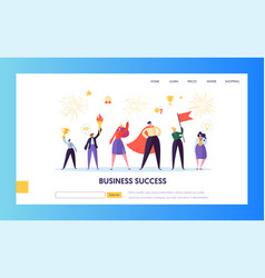 Business success leadership landing page template vector
