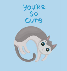 card with cute gray cat on a blue background vector image