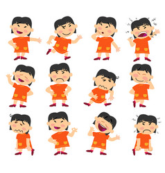 cartoon character asian girl set with different po vector image