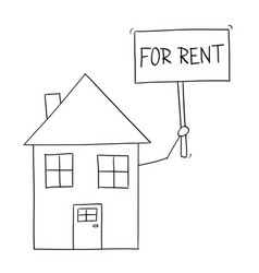 cartoon drawing of family house holding for rent vector image