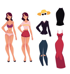 Cartoon woman girl and her fashionable clothes vector