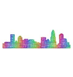 Charlotte skyline silhouette - multicolor line art vector