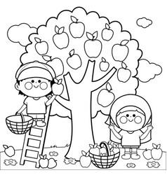 Children picking apples vector