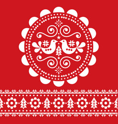 christmas scandinavian white and red folk design vector image