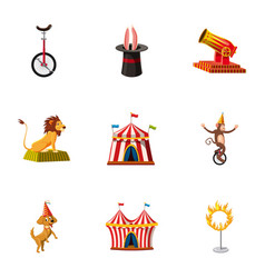 Circus show icons set cartoon style vector