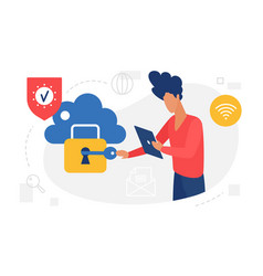 cloud storage protection user authorization vector image