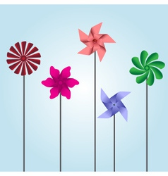 Colorful pinwheel toys eps10 vector