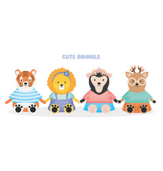 cute animals tiger lion sloth bear and deer with vector image