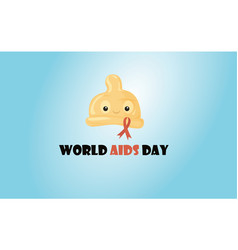 cute cartoon condom with aids ribbon vector image
