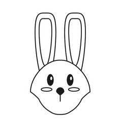 Cute easter face bunny thin line vector