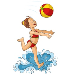 Cute little girl with beach ball vector image