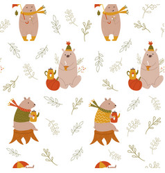 cute seamless pattern with funny cute bears vector image