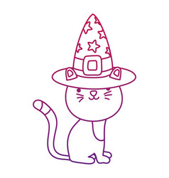 degraded outline happy cat animal with witch hat vector image