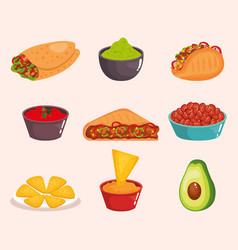 Delicious mexican food icons vector