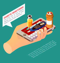 diabetic monitoring isometric composition vector image