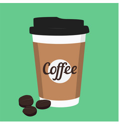 disposable coffee cup icon with coffee beans on vector image