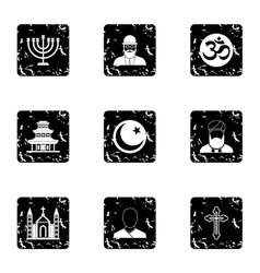 Faith icons set grunge style vector