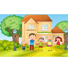 Family living in the house vector image