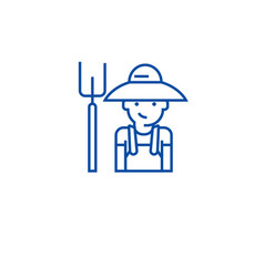 farmer with hayfork line icon concept farmer with vector image