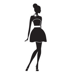 Fashion model silhouette of beautiful woman vector