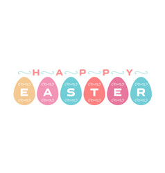 festive card or poster in pastel with easter eggs vector image