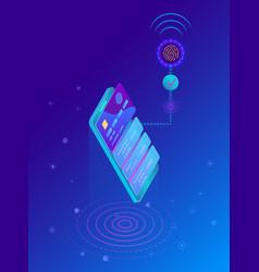 fingerprint scan biometric identification system vector image