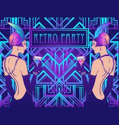 flapper girl art deco 1920s style vintage vector image
